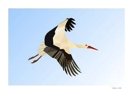 WHITE STORK BIRD LOW POLY ART