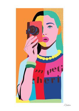 Pop Art girl with Camera
