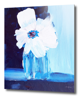 White flower dark navy