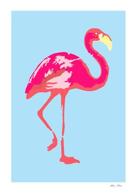 Flamingo poster, t-shirt, Watercolor, pink in blue bg