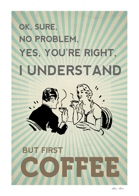 Coffee Poster, Kitchen poster, coffee design, typography