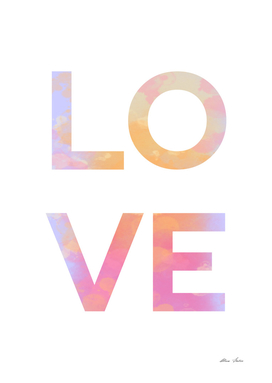 LOVE, watercolor, typography poster