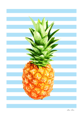 Pineapple, blue stripes, kitchen poster, garden poster