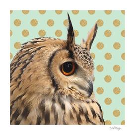 Owl & Gold Glittery Polka Dots