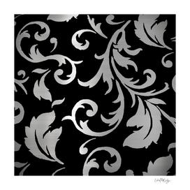 Black & Silver Metallic Floral
