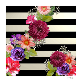 Horizontal Stripes & Flowers Abstract