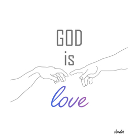 God is love motivational quote with Creation of Adam