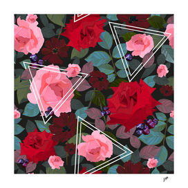 Triangles with vintage red pink roses flower