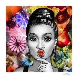 Retro Pinup Girl Lollipop & Blown Glass