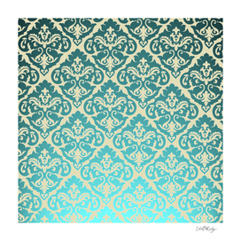 Teal Damask Beige Background