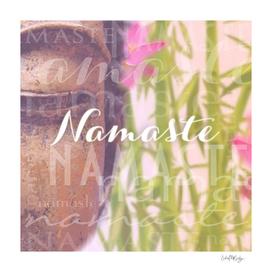 Namaste Buddha & Flowers Typography Collage