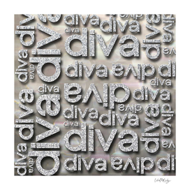 Diva Silver Glitter Repeated Typography