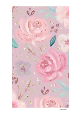 Custom Glitter Pink Roses Pattern