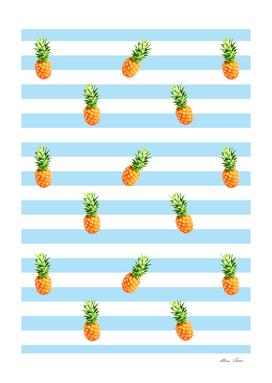 Pineapple, blue stripes, Summer Poster, Pineapple pattern