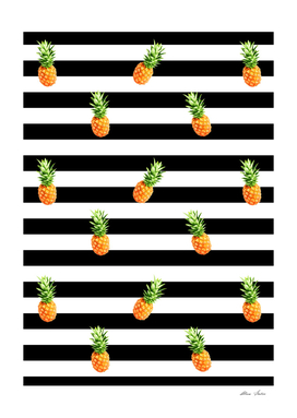 Pineapple, black stripes pattern, Pineapple Poster