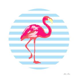 Flamingo, blue stripes, summer t shirt, summer poster,