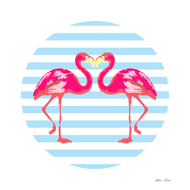 Flamingo, blue stripes, summer vibes, summer design, poster,