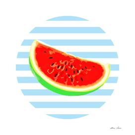 Watermelon, Summer Poster, Summer T Shirt, blue version