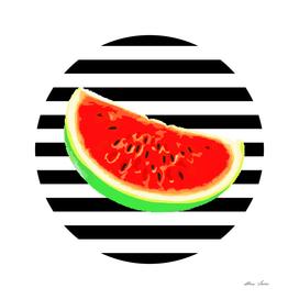 Watermelon, black stripes, Summer Poster, Summer T-shirt