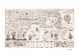 Samuel De Champlain Carte geographique de la Nouvelle