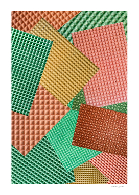 Abstract collage of color images of food waffles