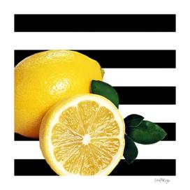 Lemon Slice Black & White Horizontal Stripes