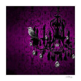 Bird & Purple Damask Sparkly Chandelier Silhouette