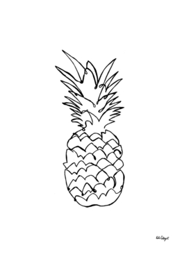 single line pineapple (black)