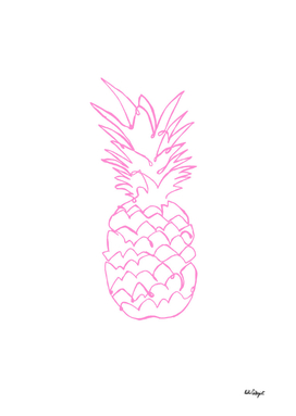 single line pink pineapple
