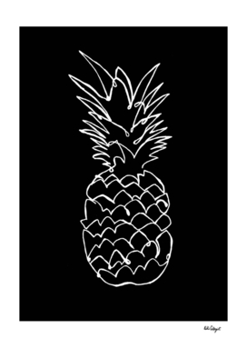 single line pineapple (white)