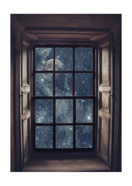 Space view Window-Moon shine