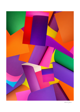 Abstract background of sheets of colored paper
