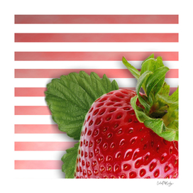 Strawberry Skin and Leaves Pink Stripes