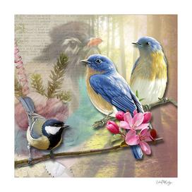 Vintage Bird Collage & Nature Backdrop