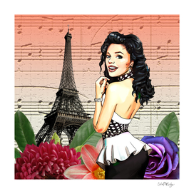 Retro Pinup Girl Flowers & Music in Paris