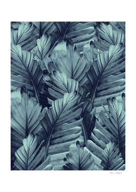 Navy Blue Banana Leaves Dream #4 #tropical #decor #art