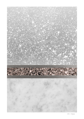 White Marble Rose Gold Glitter Stripe Glam #1 #minimal