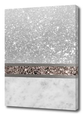 White Marble Rose Gold Glitter Stripe Glam #1 #minimal