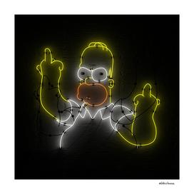 Homer Simpson Neon Portrait