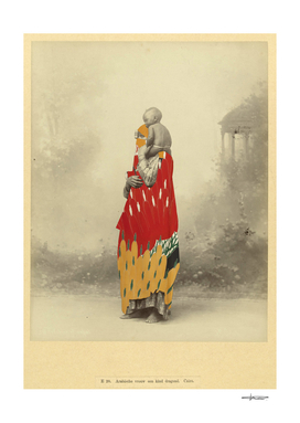 Arab Woman carrying child - Collage