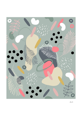 Mid Modern Nature 1. Coral, grey and black