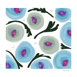 Watercolor Bold Blue Poppies
