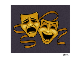 Gold Comedy And Tragedy Theater Masks