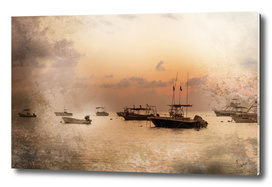sunrise and boats
