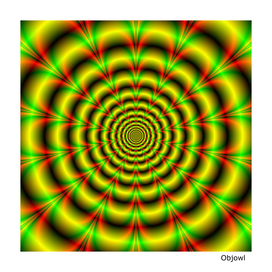 Concentric Rings in Yellow Green and Red