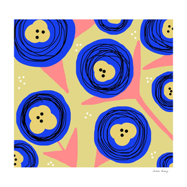 Poppy Doodle Bold Florals -Coral/Yellow