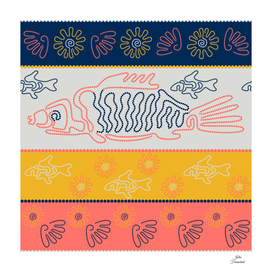 Fish and shells. Point Art. Australian Aboriginal art