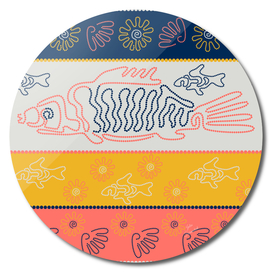 Fish and shells. Point Art. Australian Aboriginal art