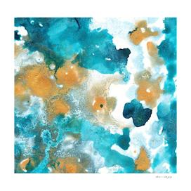 Aqua Teal Gold Abstract Painting #2 #ink #decor #art