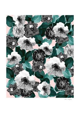Black and White Floral Garden Glamor #1 #floral #decor #art